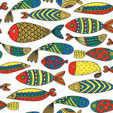 Seamless pattern with fishes. Hand drawn undersea world. Colorful artistic background. Aquarium Royalty Free Stock Images