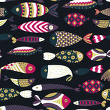 Seamless pattern with fishes. Hand drawn undersea world. Colorful artistic background. Aquarium. Can be used for wallpaper, textiles, wrapping, card, cover Royalty Free Stock Photos