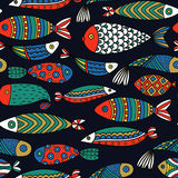 Seamless pattern with fishes.  Stock Image