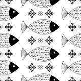 Seamless pattern fishes with Indian Native American arrows and geometric ethnic ornaments black and white vector background Stock Photography