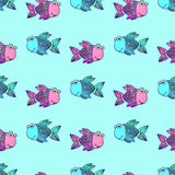 Seamless pattern with fishes. Marine cartoon vector illustration. Fish love. Mosaic design Stock Photography