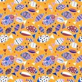 Seamless pattern with fishes. stock illustration