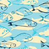 Seamless pattern from fishes Royalty Free Stock Image