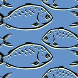 Seamless pattern from fishes Stock Images