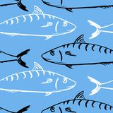 Seamless pattern from fishes Stock Photos