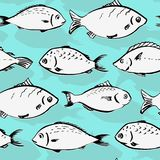 Seamless pattern from fishes Stock Photo
