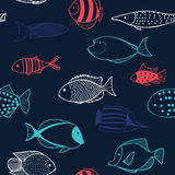 Seamless pattern with fishes Stock Photo