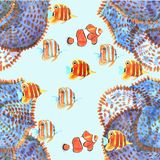Seamless pattern with fishes. Watercolor stock illustration
