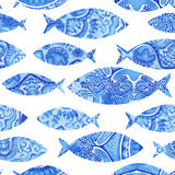 seamless pattern with fishes, watercolor hand painted background