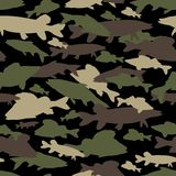 Seamless  pattern of fishing camouflage. Brown green camo of freshwater fish