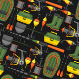 Seamless pattern with fishing supplies. Background made without clipping mask. Easy to use for backdrop, textile vector illustration