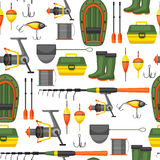 Seamless pattern with fishing supplies. Background made without clipping mask. Easy to use for backdrop, textile Stock Images