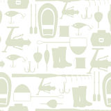 Seamless pattern with fishing supplies. Background made without clipping mask. Easy to use for backdrop, textile. Wrapping paper Royalty Free Stock Photo