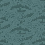 Seamless pattern for fishing theme.  fish,fishman,lure,rod a. Seamless pattern for fishing theme. With fish,fishman,lure,rod and tree. Vector illustration Royalty Free Stock Photo