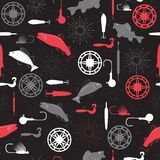 Seamless pattern on a fishing theme vector Stock Images