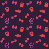 Seamless pattern, fitness background. Seamless pattern with gym icons, fitness background, eps 10 file, easy to edit Stock Photo
