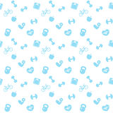 Seamless pattern fitness blue icons Stock Photography