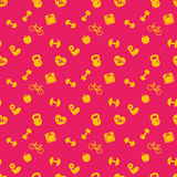 Seamless pattern with fitness icons, background Royalty Free Stock Photos