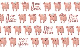 New Year 2019. Seamless pattern with five pigs, vector textile fabric print. Vector illustration. Seamless pattern with five pigs, vector textile fabric print vector illustration