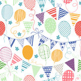 Seamless pattern with flags and balloons. Colorful festive backg Stock Photo
