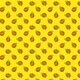 Seamless pattern with flame and hot on a yellow polka dot background. Pop art style vector illustration