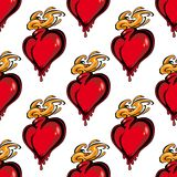 Seamless pattern of a flaming melting heart Royalty Free Stock Photos