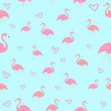 Seamless pattern flamingo bird with heart vector Stock Photo