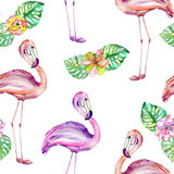 Seamless pattern with the flamingo and exotic flowers Stock Photo