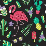 Seamless pattern with flamingo, exotic leaves. Set of hand drawn vector elements Royalty Free Stock Image