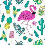 Seamless pattern with flamingo, exotic leaves. Set of hand drawn vector elements Stock Images