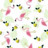 Seamless pattern with flamingo, lemon stock illustration