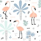 Seamless pattern with flamingo and palms stock images