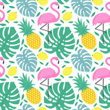 Seamless pattern with flamingo, pineapple, lemons and green palm vector illustration