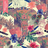 Seamless pattern with flamingo, pineapples, banana leaves. Hand drawn. Royalty Free Stock Photo
