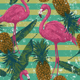 Seamless pattern with flamingo, pineapples, banana leaves. Hand drawn. Royalty Free Stock Photography