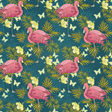 Seamless pattern with flamingo and tropical flowers Royalty Free Stock Photography