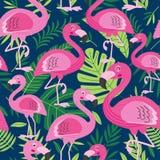 Seamless pattern with flamingo stock illustration