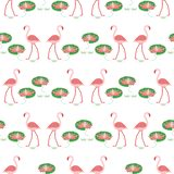 Seamless pattern with flamingo and water lily stock illustration