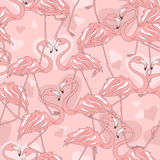 Seamless pattern of flamingos Stock Photography