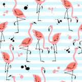 Seamless pattern with flamingos on striped background. Summer motifs. Vector.  royalty free illustration