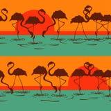 Seamless pattern of flamingos Royalty Free Stock Photo