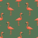 Seamless pattern with flamingos Royalty Free Stock Photo