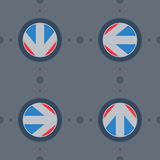 Seamless pattern with flat arrows with gear Royalty Free Stock Image