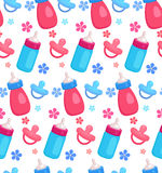 Seamless pattern with flat baby bottles and pacifiers. For your creativity royalty free illustration