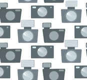 Seamless pattern with flat cameras in row. Royalty Free Stock Photos