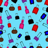 Seamless pattern with flat colorful luggage. Stock Images
