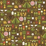 Seamless pattern of flat colorful  military and war icons set. Army infographic design elements. Illustration in flat style. Royalty Free Stock Photo