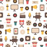 Seamless pattern of flat colorful movie design. Seamless pattern of flat cmovie design elements and cinema icons in flat style. Vector illustration. Background Stock Photo