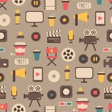 Seamless pattern of flat colorful movie design. Seamless pattern of flat movie design elements and cinema icons in flat style Stock Photo