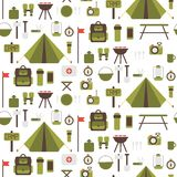 Seamless pattern of flat colorful vector camping Royalty Free Stock Image